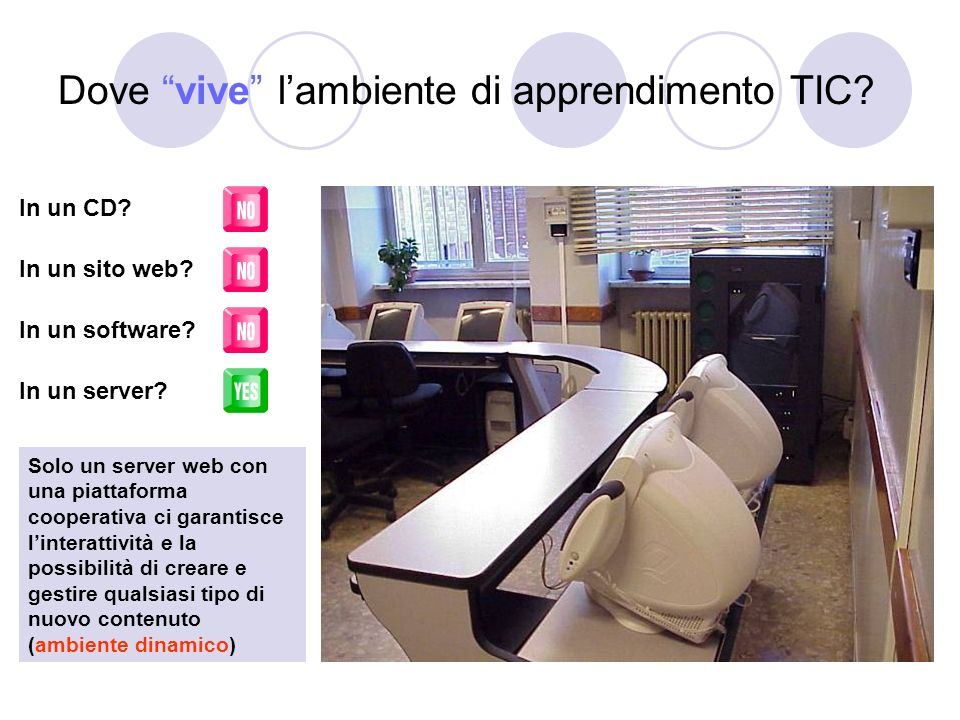 Dove vive lambiente di apprendimento TIC? In un CD? In un sito web? In un software? In un server? Solo un server web con una piattaforma cooperativa c