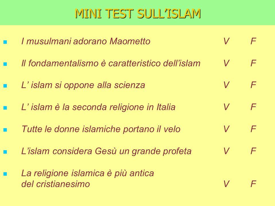 MINI TEST SULLISLAM I musulmani adorano Maometto V F Il fondamentalismo è caratteristico dellislam V F L islam si oppone alla scienza V F L islam è la