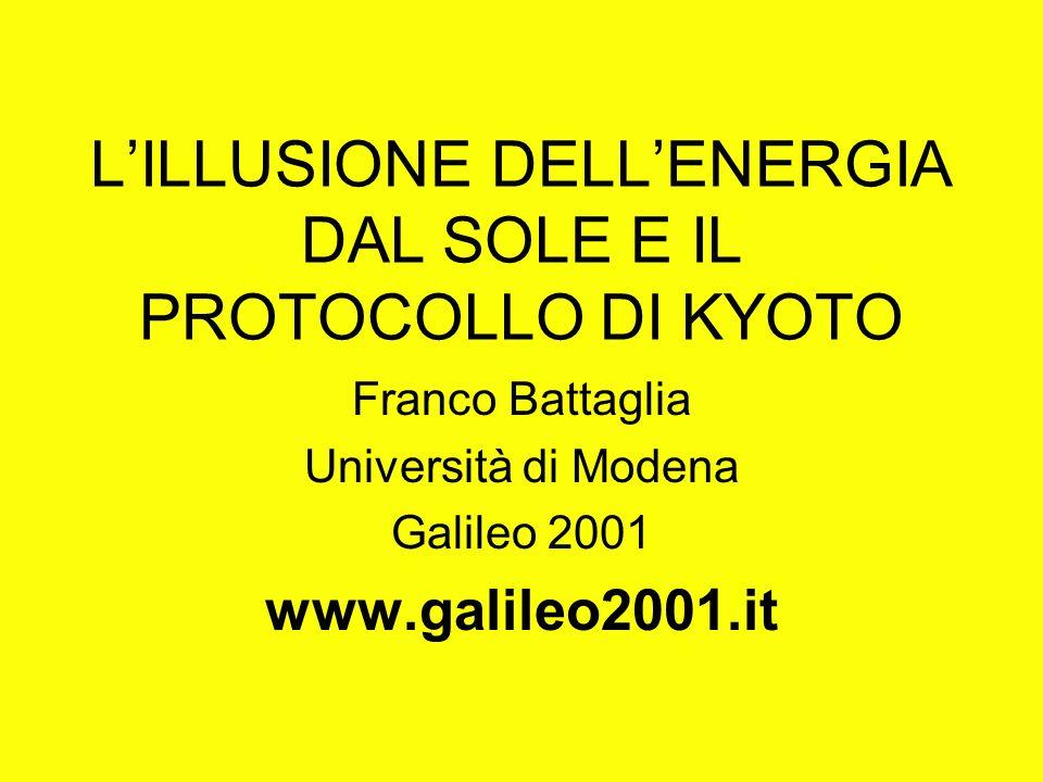 LILLUSIONE DELLENERGIA DAL SOLE E IL PROTOCOLLO DI KYOTO Franco Battaglia Università di Modena Galileo 2001 www.galileo2001.it