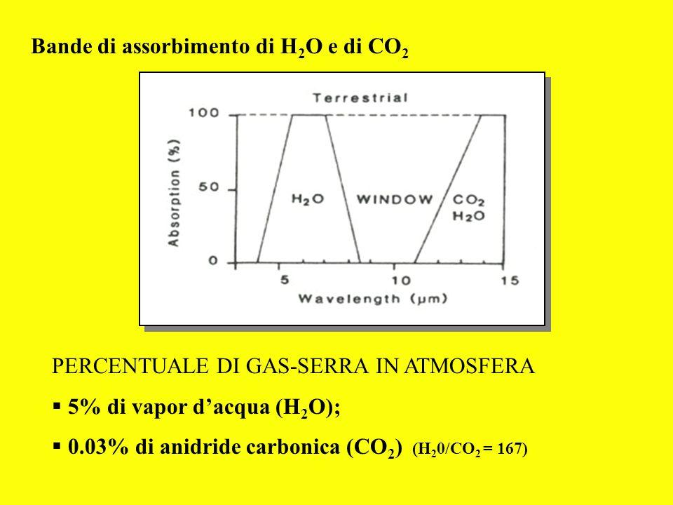 Bande di assorbimento di H 2 O e di CO 2 PERCENTUALE DI GAS-SERRA IN ATMOSFERA 5% di vapor dacqua (H 2 O); 0.03% di anidride carbonica (CO 2 ) (H 2 0/