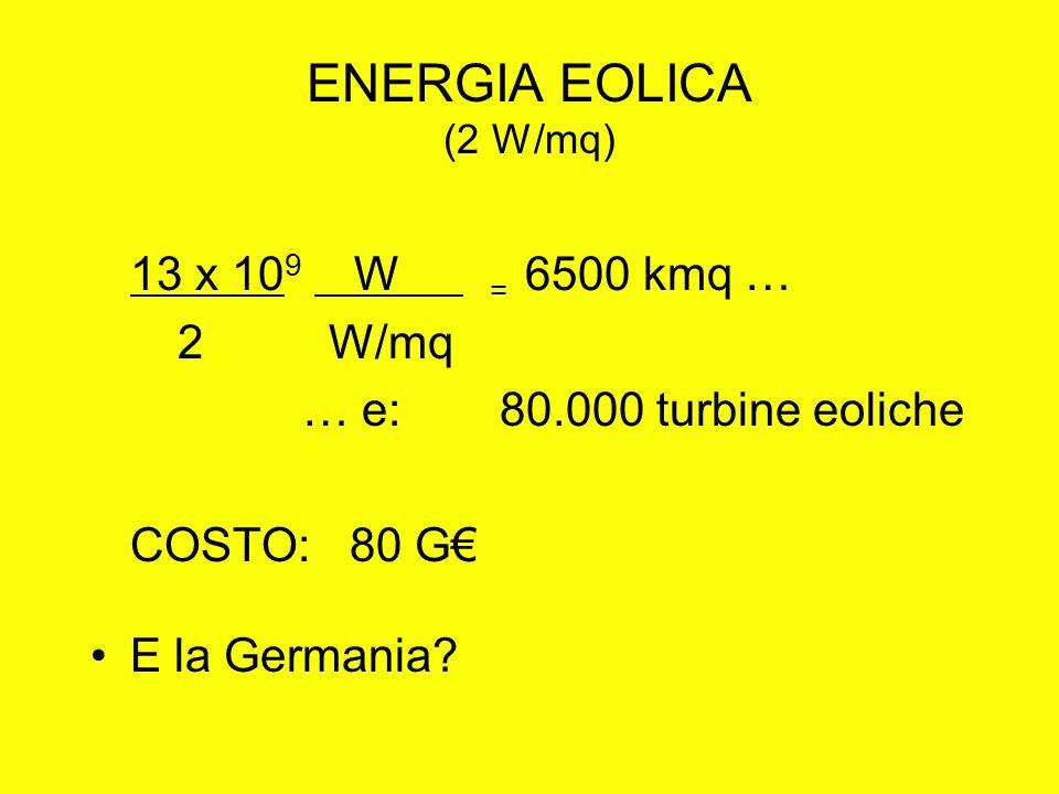 ENERGIA EOLICA (2 W/mq) 13 x 10 9 W = 6500 kmq … 2 W/mq … e: 80.000 turbine eoliche COSTO: 80 G E la Germania?