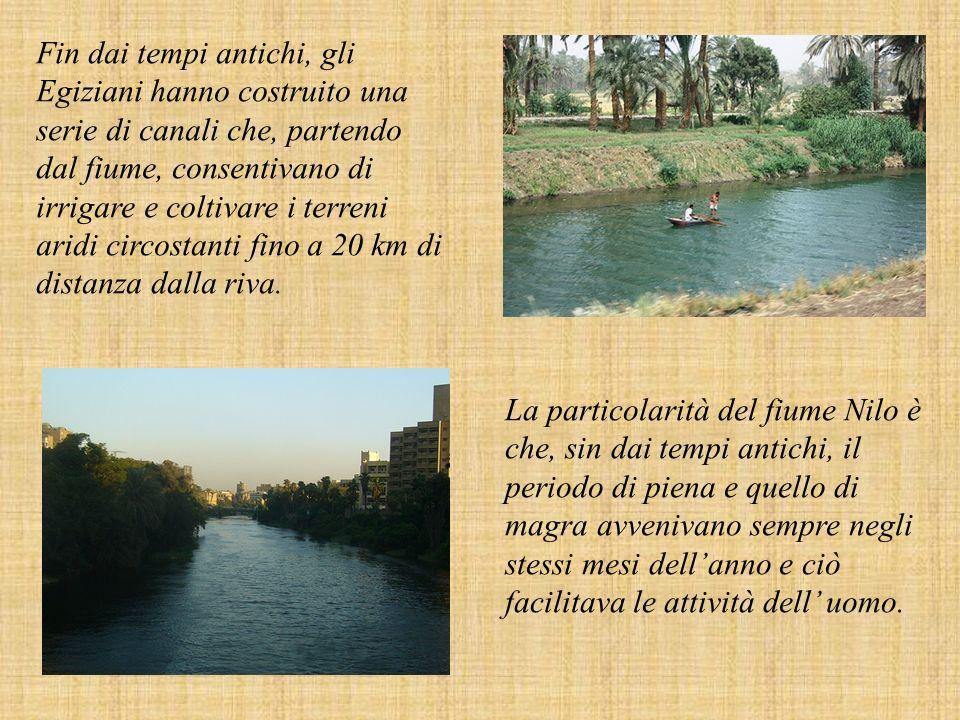 Fin dai tempi antichi, gli Egiziani hanno costruito una serie di canali che, partendo dal fiume, consentivano di irrigare e coltivare i terreni aridi circostanti fino a 20 km di distanza dalla riva.