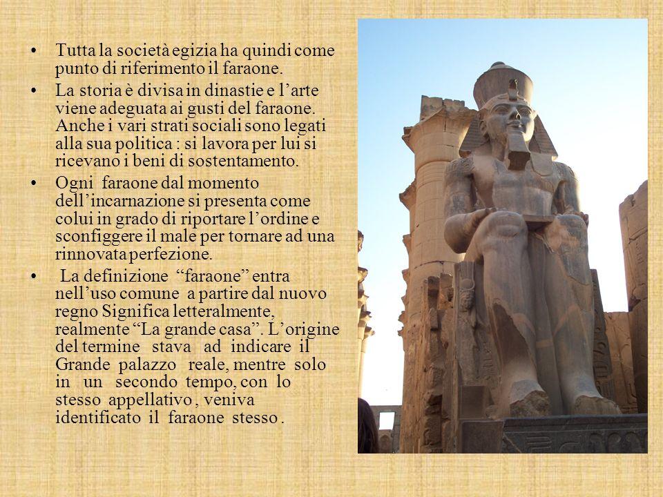 Tutta la società egizia ha quindi come punto di riferimento il faraone.