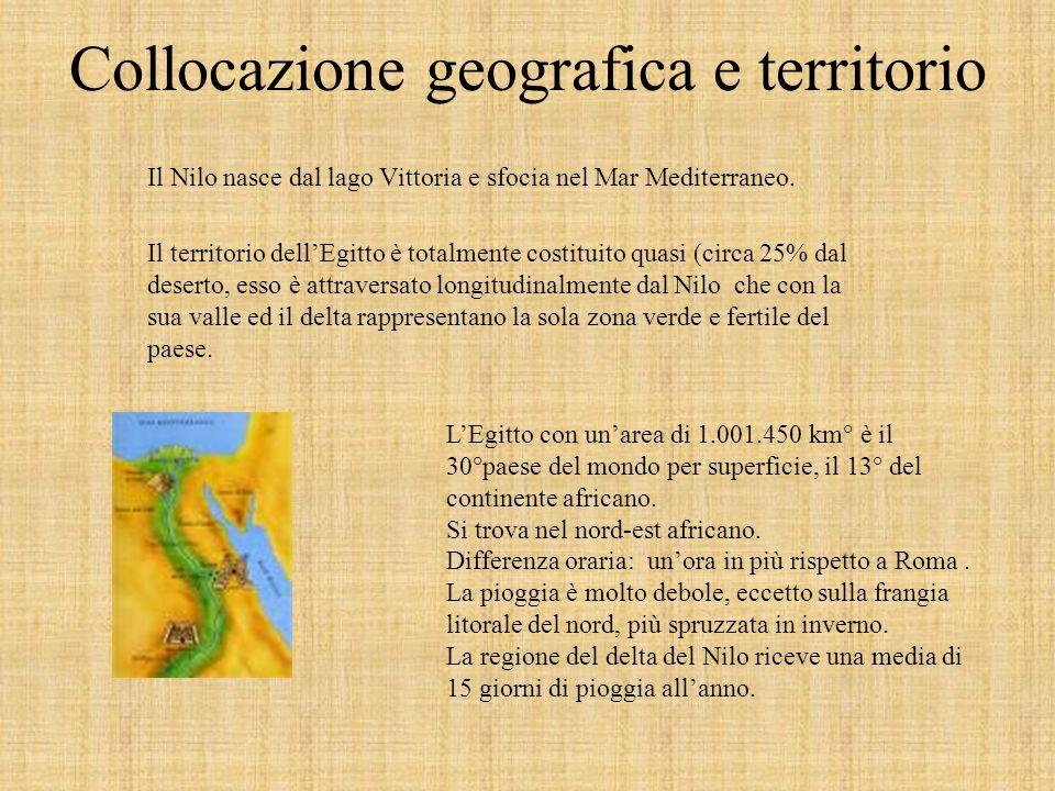 Collocazione geografica e territorio Il Nilo nasce dal lago Vittoria e sfocia nel Mar Mediterraneo.