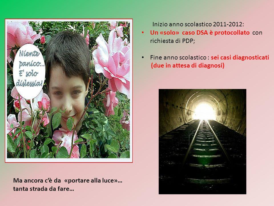 Inizio anno scolastico 2011-2012: Un «solo» caso DSA è protocollato con richiesta di PDP; Fine anno scolastico : sei casi diagnosticati (due in attesa