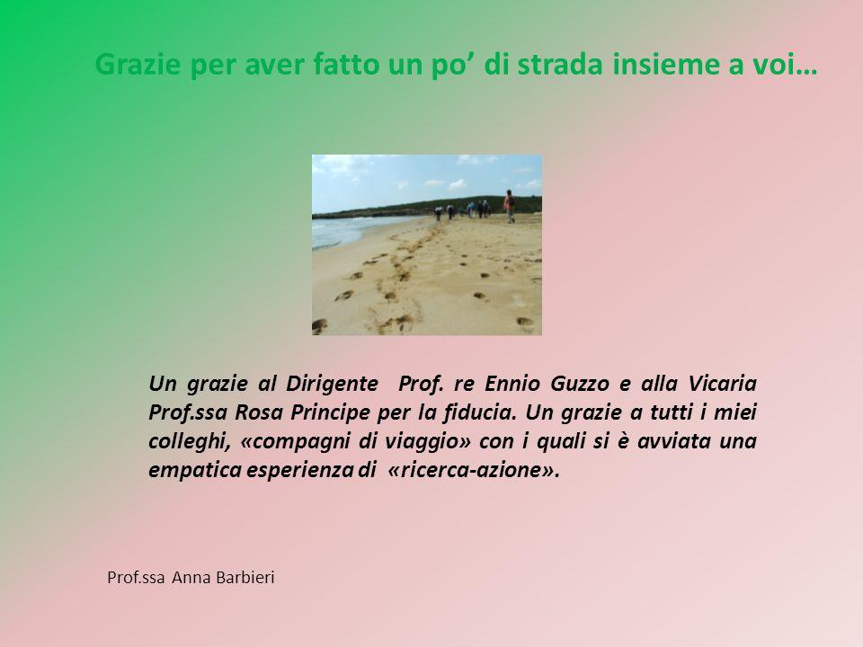 Grazie per aver fatto un po di strada insieme a voi… Un grazie al Dirigente Prof. re Ennio Guzzo e alla Vicaria Prof.ssa Rosa Principe per la fiducia.