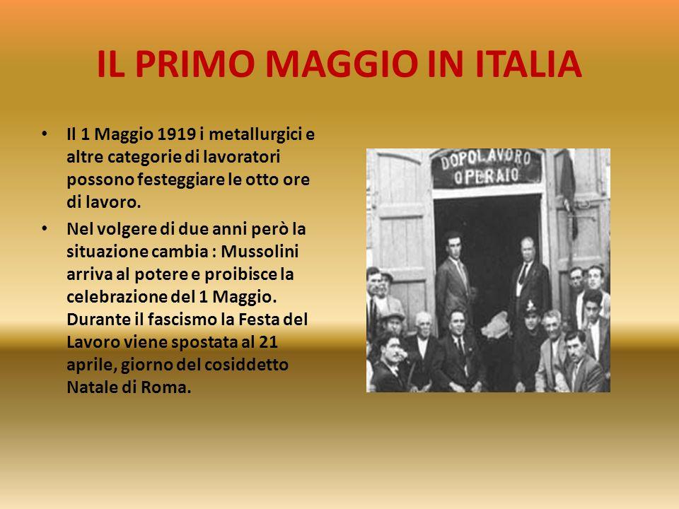 IL PRIMO MAGGIO IN ITALIA Ci sono manifestazioni a Firenze e a Sesto Fiorentino e a Milano dove i militari, comandati dal generale Bava Beccaris, repr