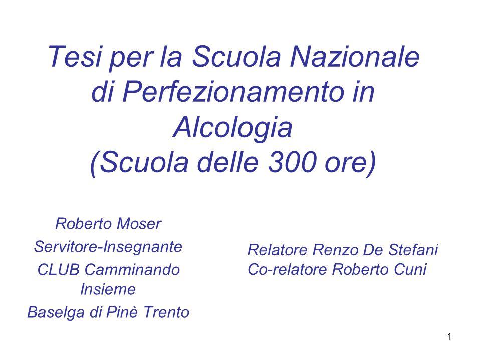 1 Tesi per la Scuola Nazionale di Perfezionamento in Alcologia (Scuola delle 300 ore) Roberto Moser Servitore-Insegnante CLUB Camminando Insieme Basel