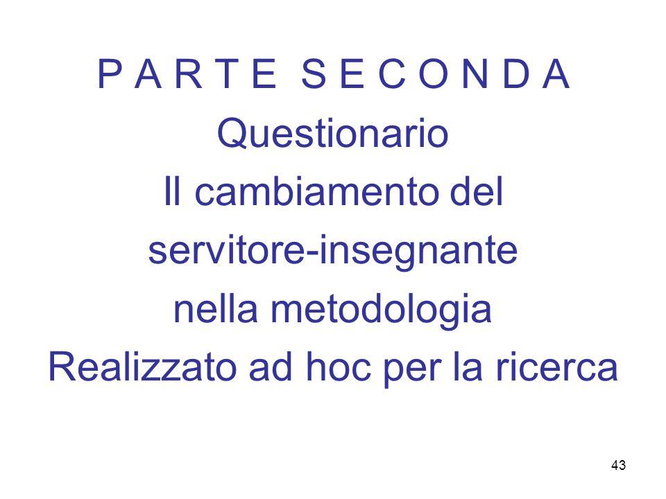 43 P A R T E S E C O N D A Questionario Il cambiamento del servitore-insegnante nella metodologia Realizzato ad hoc per la ricerca