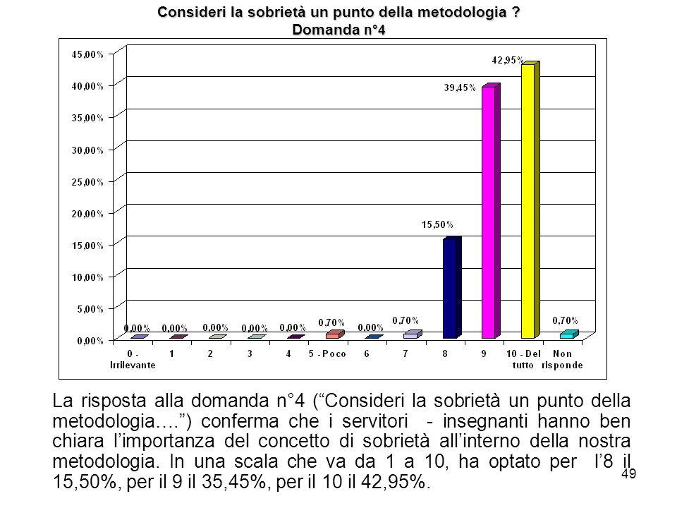 49 Consideri la sobrietà un punto della metodologia ? Domanda n°4 La risposta alla domanda n°4 (Consideri la sobrietà un punto della metodologia….) co