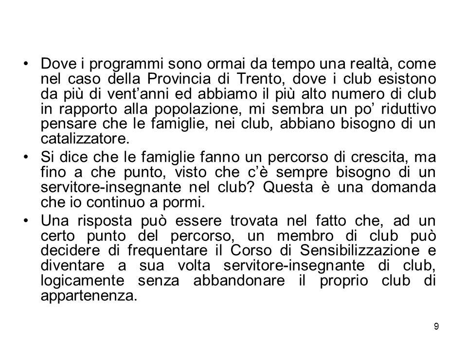 9 Dove i programmi sono ormai da tempo una realtà, come nel caso della Provincia di Trento, dove i club esistono da più di ventanni ed abbiamo il più