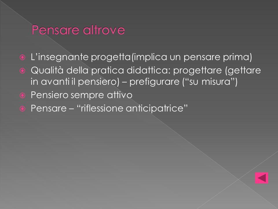 Linsegnante progetta(implica un pensare prima) Qualità della pratica didattica: progettare (gettare in avanti il pensiero) – prefigurare (su misura) P
