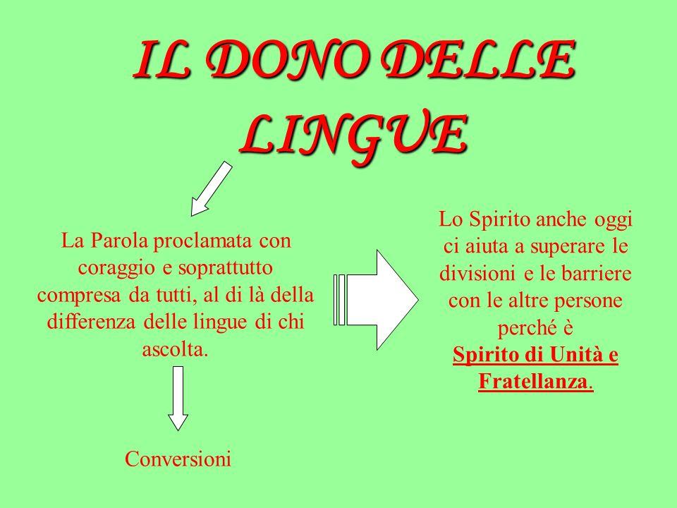 IL DONO DELLE LINGUE La Parola proclamata con coraggio e soprattutto compresa da tutti, al di là della differenza delle lingue di chi ascolta. Convers