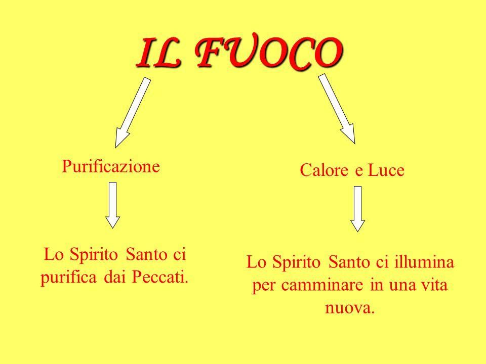 IL FUOCO Purificazione Calore e Luce Lo Spirito Santo ci purifica dai Peccati. Lo Spirito Santo ci illumina per camminare in una vita nuova.