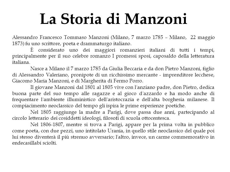 La Storia di Manzoni Alessandro Francesco Tommaso Manzoni (Milano, 7 marzo 1785 – Milano, 22 maggio 1873) fu uno scrittore, poeta e drammaturgo italia