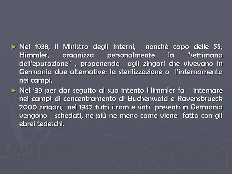Nel 1938, il Ministro degli Interni, nonché capo delle SS, Himmler, organizza personalmente la settimana dellepurazione, proponendo agli zingari che vivevano in Germania due alternative: la sterilizzazione o linternamento nei campi.