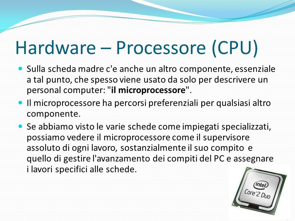 Hardware – Processore (CPU) Sulla scheda madre c'e anche un altro componente, essenziale a tal punto, che spesso viene usato da solo per descrivere un