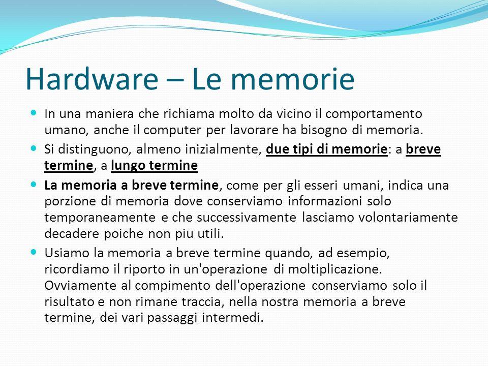 Hardware – Le memorie In una maniera che richiama molto da vicino il comportamento umano, anche il computer per lavorare ha bisogno di memoria. Si dis
