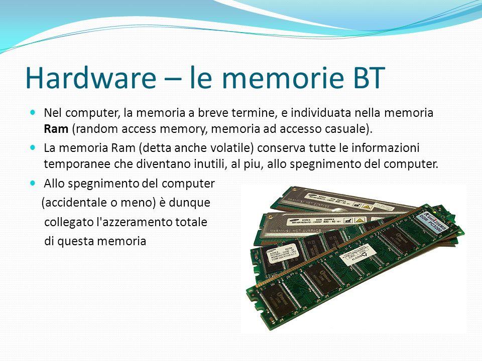 Hardware – le memorie BT Nel computer, la memoria a breve termine, e individuata nella memoria Ram (random access memory, memoria ad accesso casuale).