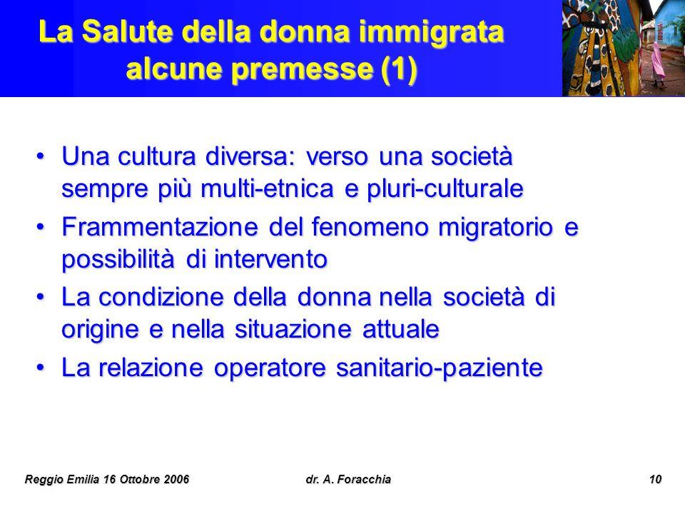 Reggio Emilia 16 Ottobre 2006dr. A. Foracchia10 La Salute della donna immigrata alcune premesse (1) Una cultura diversa: verso una società sempre più