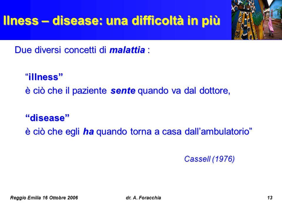 Reggio Emilia 16 Ottobre 2006dr. A. Foracchia13 llness – disease: una difficoltà in più Due diversi concetti di malattia : illnessillness è ciò che il