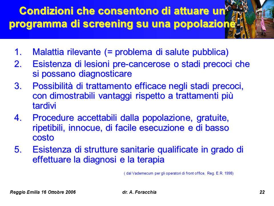 Reggio Emilia 16 Ottobre 2006dr. A. Foracchia22 Condizioni che consentono di attuare un programma di screening su una popolazione 1.Malattia rilevante