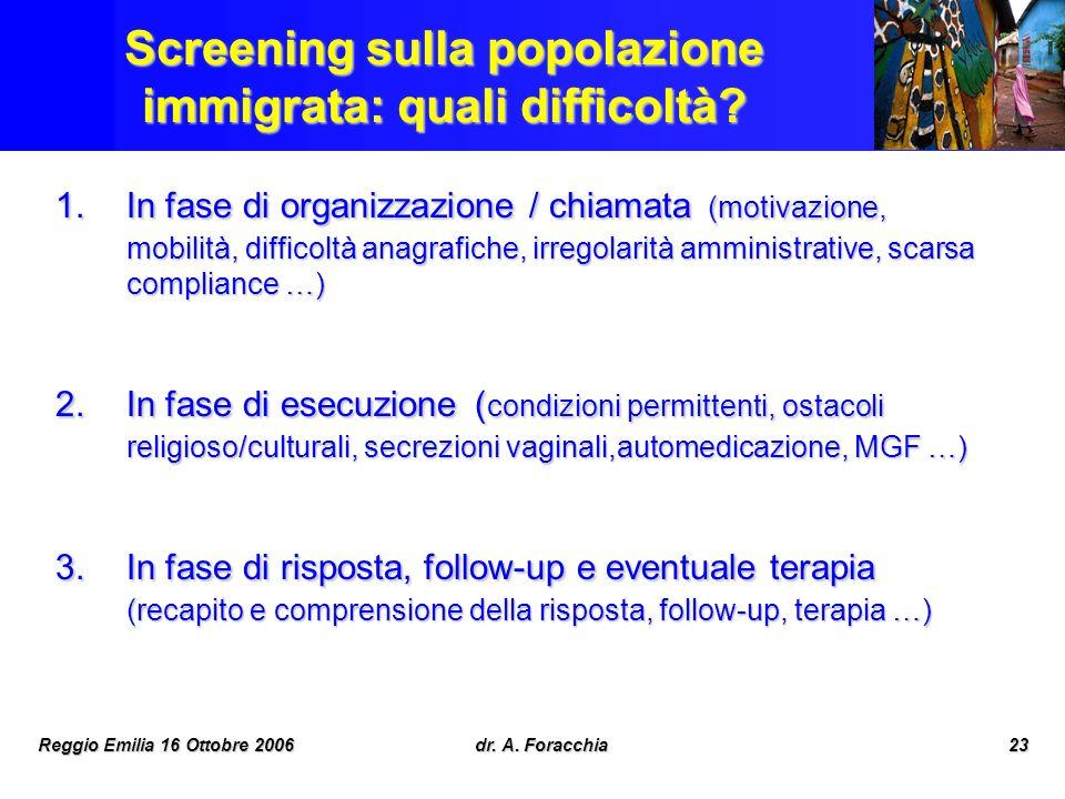 Reggio Emilia 16 Ottobre 2006dr. A. Foracchia23 Screening sulla popolazione immigrata: quali difficoltà? 1.In fase di organizzazione / chiamata (motiv
