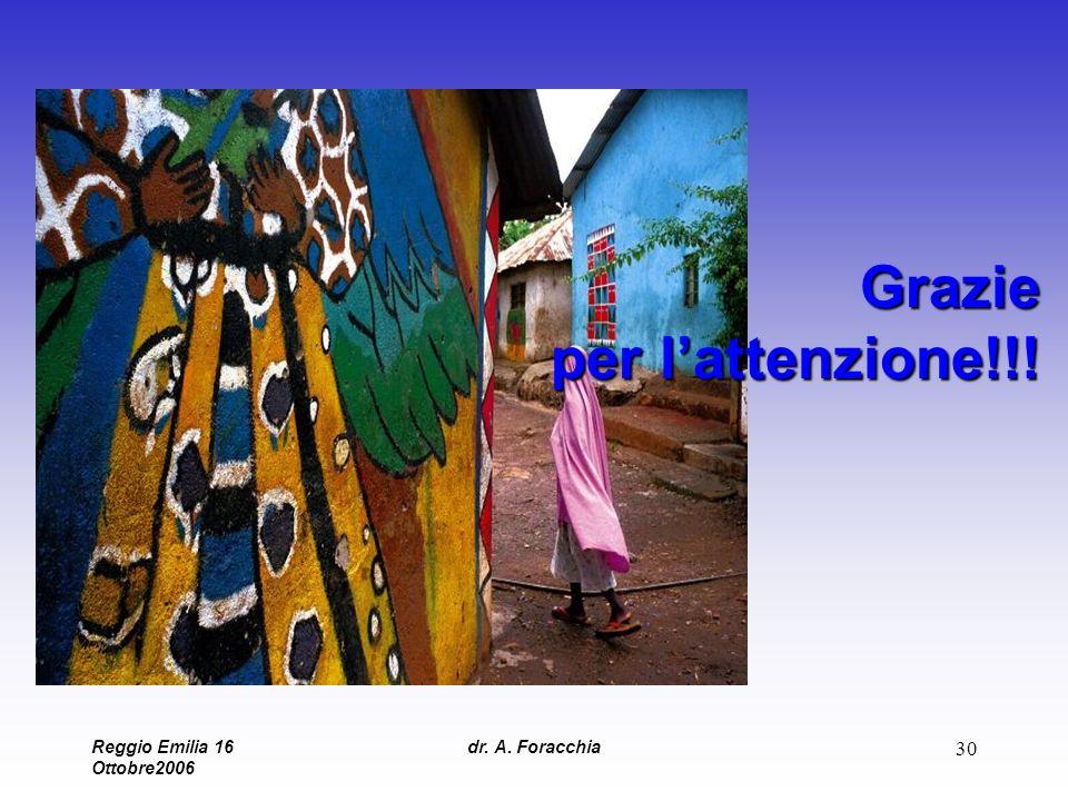 Reggio Emilia 16 Ottobre2006 dr. A. Foracchia 30 Grazie per lattenzione!!!