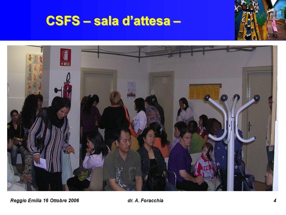 Reggio Emilia 16 Ottobre 2006dr.A. Foracchia25 Quale screening per la ginecologia delle immigrate.