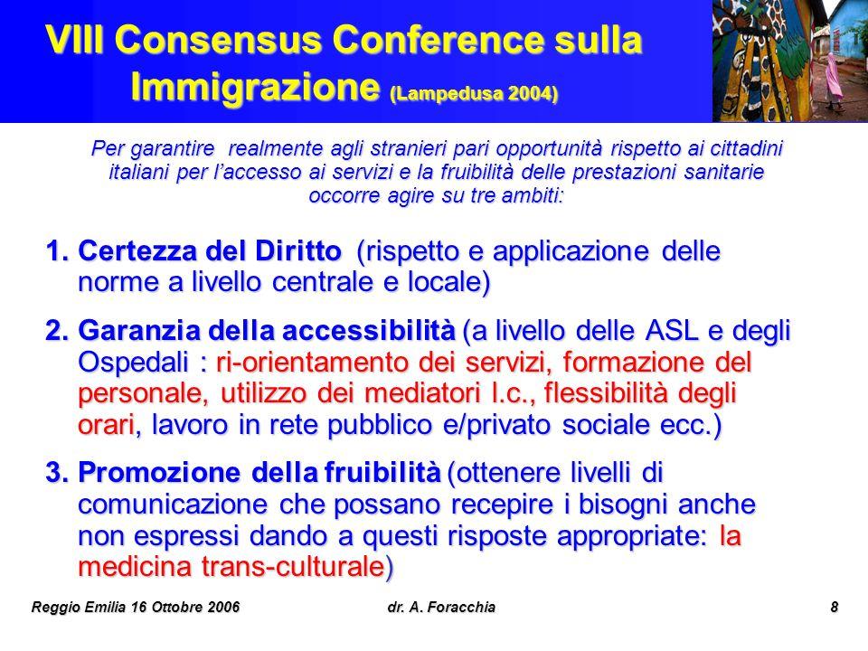 Reggio Emilia 16 Ottobre 2006dr. A. Foracchia8 VIII Consensus Conference sulla Immigrazione (Lampedusa 2004) Per garantire realmente agli stranieri pa
