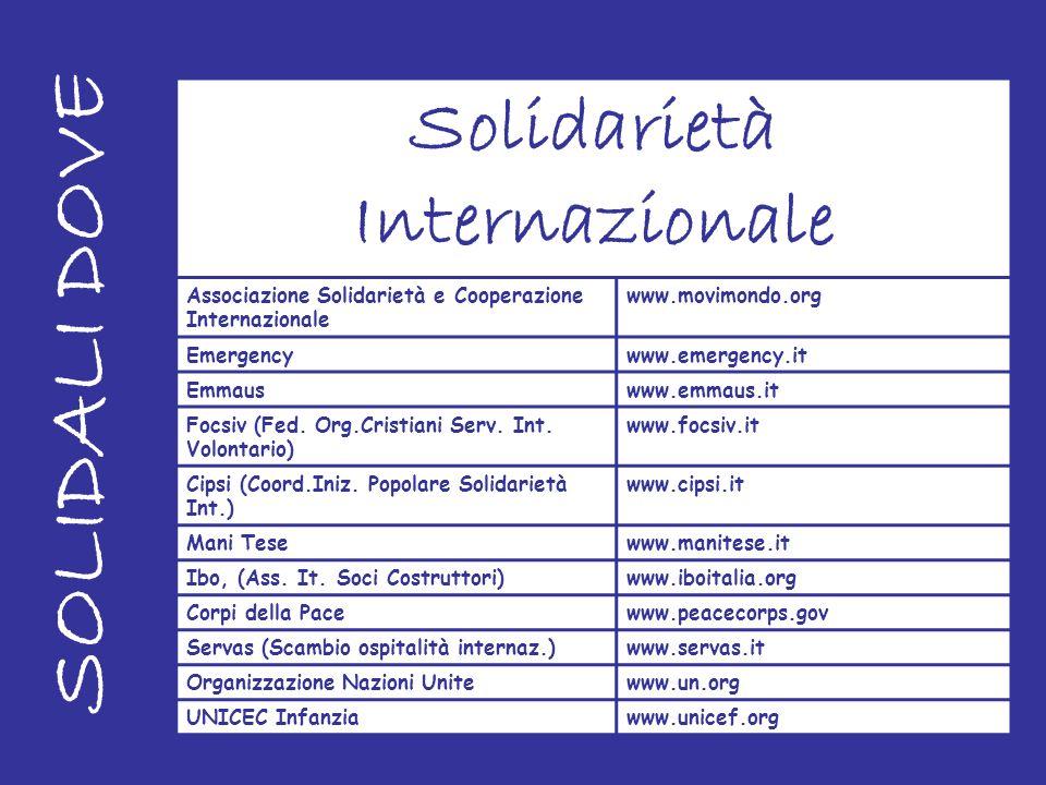 SOLIDALI DOVE Solidarietà Internazionale Associazione Solidarietà e Cooperazione Internazionale www.movimondo.org Emergencywww.emergency.it Emmauswww.