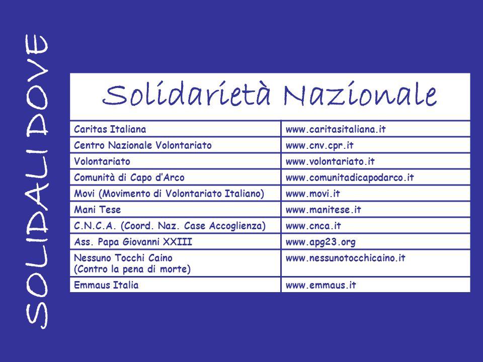 SOLIDALI DOVE Solidarietà Nazionale Caritas Italianawww.caritasitaliana.it Centro Nazionale Volontariatowww.cnv.cpr.it Volontariatowww.volontariato.it