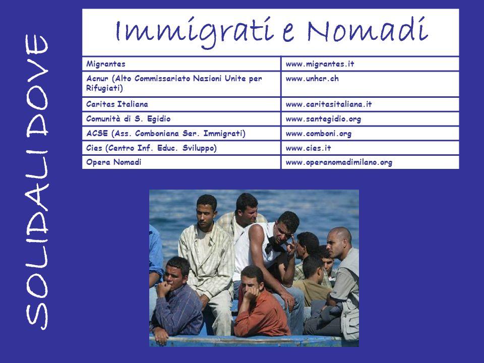 SOLIDALI DOVE Immigrati e Nomadi Migranteswww.migrantes.it Acnur (Alto Commissariato Nazioni Unite per Rifugiati) www.unhcr.ch Caritas Italianawww.car