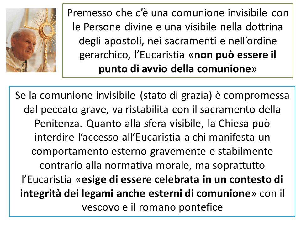 Premesso che cè una comunione invisibile con le Persone divine e una visibile nella dottrina degli apostoli, nei sacramenti e nellordine gerarchico, l