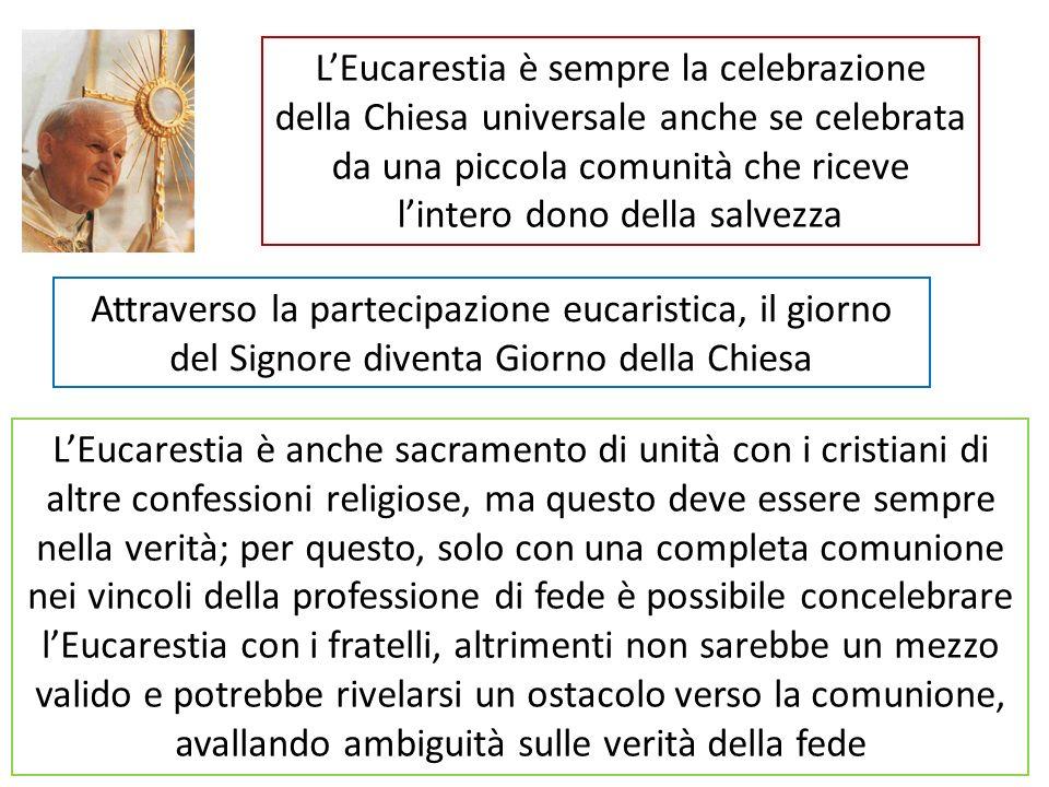 Attraverso la partecipazione eucaristica, il giorno del Signore diventa Giorno della Chiesa LEucarestia è sempre la celebrazione della Chiesa universa