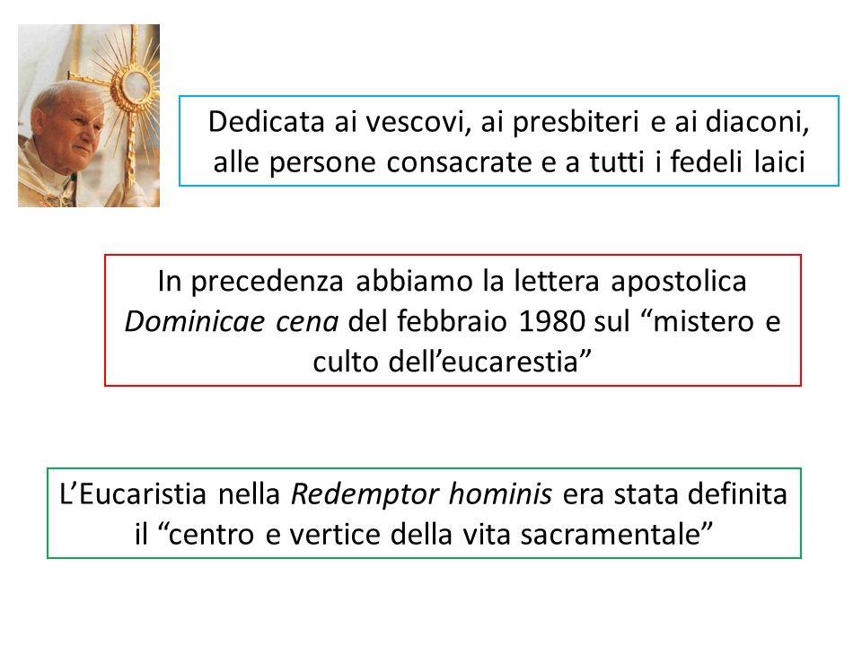 Sono ripresi vari motivi: lo stupore di fronte allEucaristia e la centralità pastorale della sua celebrazione; lesigenza di vivere integralmente tutte le dimensioni del mistero; lansia ecumenica di arrivare a una sola Eucaristia; la raccomandazione di metterci alla scuola dei santi e in ascolto di Maria Il Papa conclude la sua Enciclica con le parole della Sequenza che viene letta alla festa del Corpus Domini scritta da S.