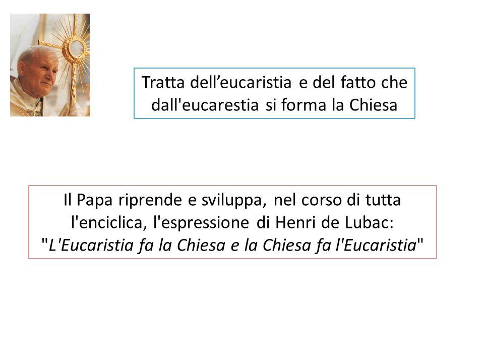 Tratta delleucaristia e del fatto che dall'eucarestia si forma la Chiesa Il Papa riprende e sviluppa, nel corso di tutta l'enciclica, l'espressione di