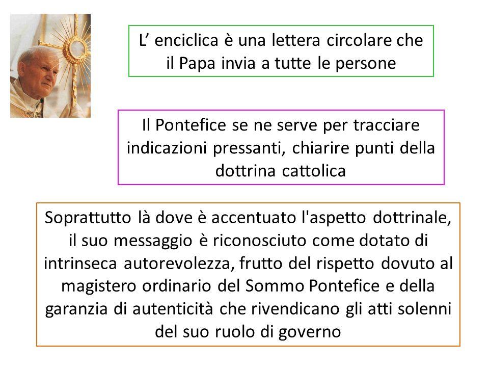 Questa è la divisione dellenciclica: INTRODUZIONE 1) MISTERO DELLA FEDE 2) L EUCARISTIA EDIFICA LA CHIESA 3) L APOSTOLICITÀ DELL EUCARISTIA E DELLA CHIESA 4) L EUCARISTIA E LA COMUNIONE ECCLESIALE 5) IL DECORO DELLA CELEBRAZIONE EUCARISTICA 6) ALLA SCUOLA DI MARIA, DONNA EUCARISTICA CONCLUSIONE