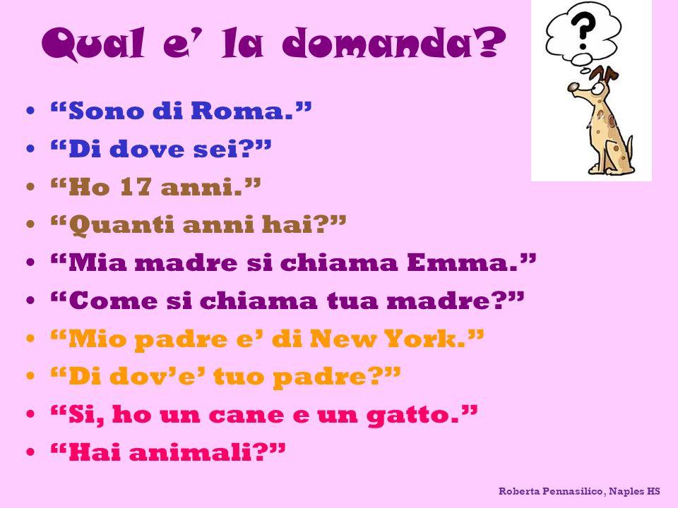 Qual e la domanda? Sono di Roma. Di dove sei? Ho 17 anni. Quanti anni hai? Mia madre si chiama Emma. Come si chiama tua madre? Mio padre e di New York