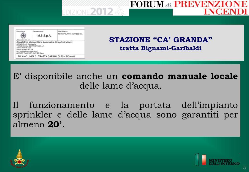 23 STAZIONE CA GRANDA tratta Bignami-Garibaldi 23 E disponibile anche un comando manuale locale delle lame dacqua. Il funzionamento e la portata delli