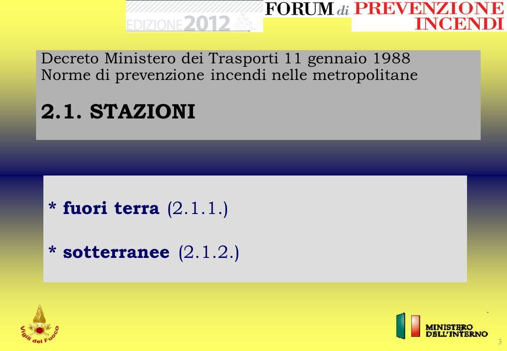 3 3 Decreto Ministero dei Trasporti 11 gennaio 1988 Norme di prevenzione incendi nelle metropolitane 2.1. STAZIONI * fuori terra (2.1.1.) * sotterrane