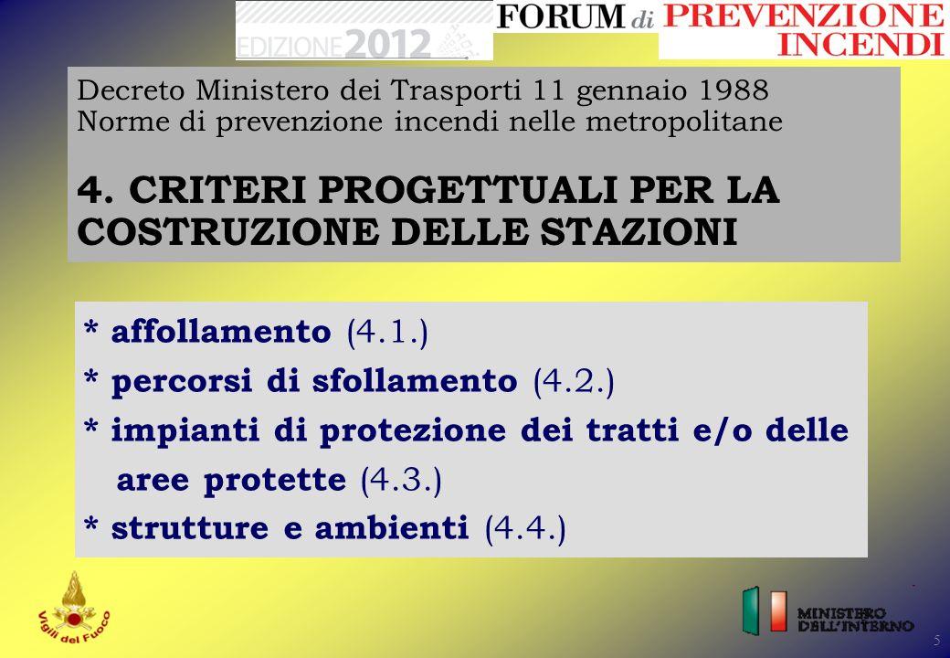 16 Decreto Ministero dei Trasporti 11 gennaio 1988 Norme di prevenzione incendi nelle metropolitane 4.4.