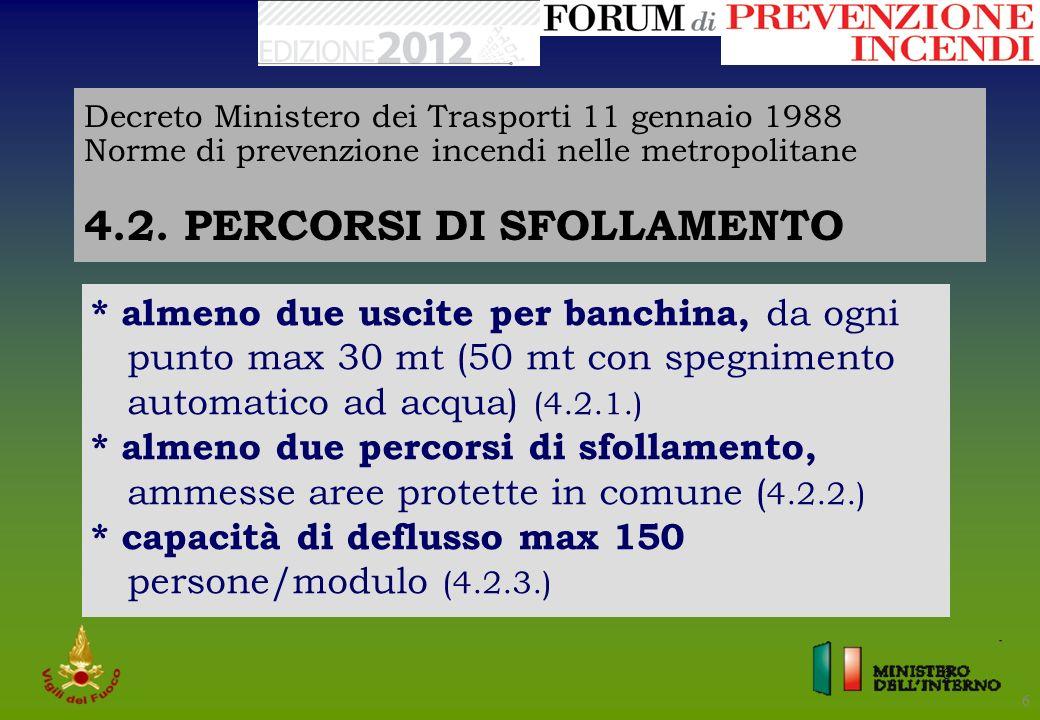 6 6 Decreto Ministero dei Trasporti 11 gennaio 1988 Norme di prevenzione incendi nelle metropolitane 4.2. PERCORSI DI SFOLLAMENTO * almeno due uscite