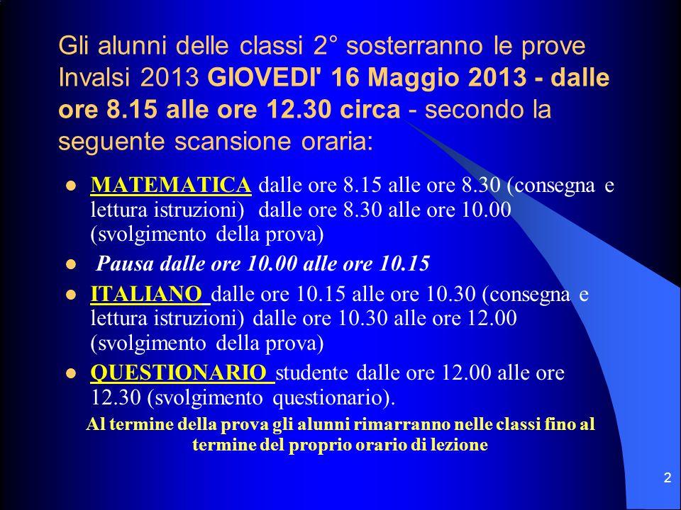Gli alunni delle classi 2° sosterranno le prove Invalsi 2013 GIOVEDI' 16 Maggio 2013 - dalle ore 8.15 alle ore 12.30 circa - secondo la seguente scans