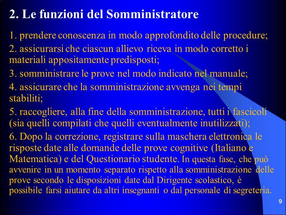 2. Le funzioni del Somministratore 1. prendere conoscenza in modo approfondito delle procedure; 2.