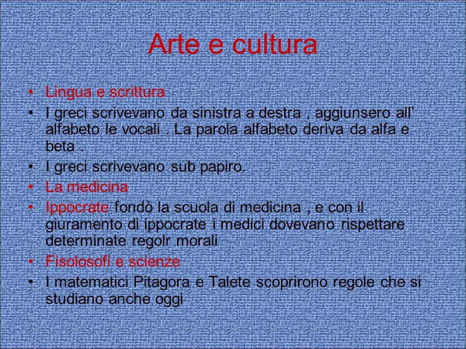 Arte e cultura Lingua e scrittura I greci scrivevano da sinistra a destra, aggiunsero all alfabeto le vocali. La parola alfabeto deriva da alfa e beta