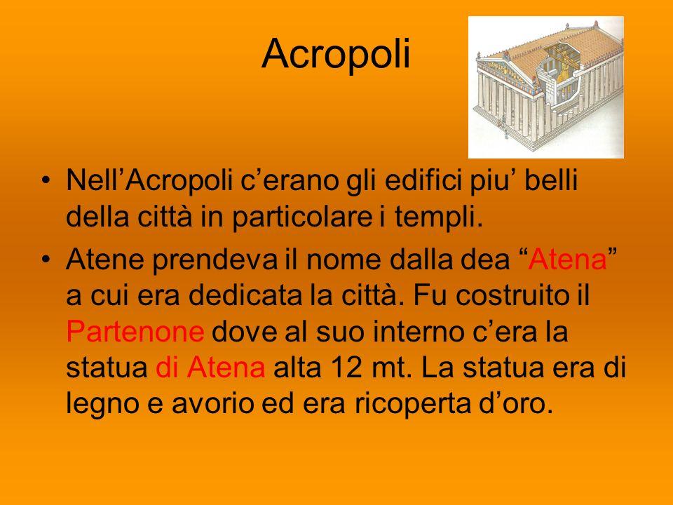 Acropoli NellAcropoli cerano gli edifici piu belli della città in particolare i templi. Atene prendeva il nome dalla dea Atena a cui era dedicata la c
