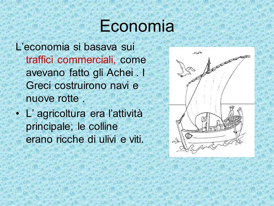 Economia Leconomia si basava sui traffici commerciali, come avevano fatto gli Achei. I Greci costruirono navi e nuove rotte. L agricoltura era lattivi