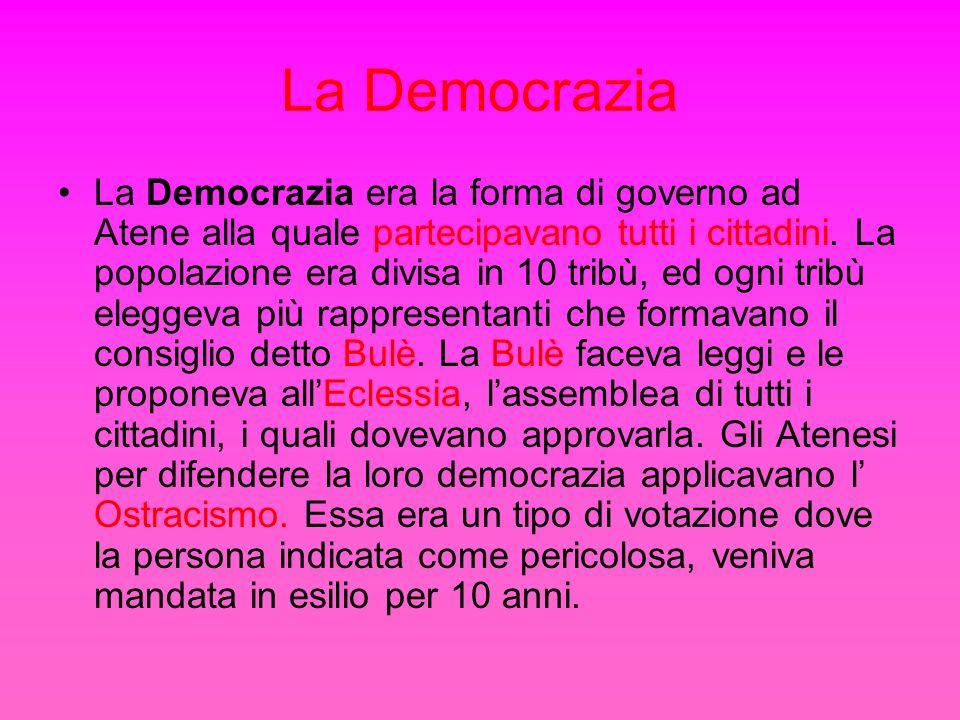La Democrazia La Democrazia era la forma di governo ad Atene alla quale partecipavano tutti i cittadini. La popolazione era divisa in 10 tribù, ed ogn