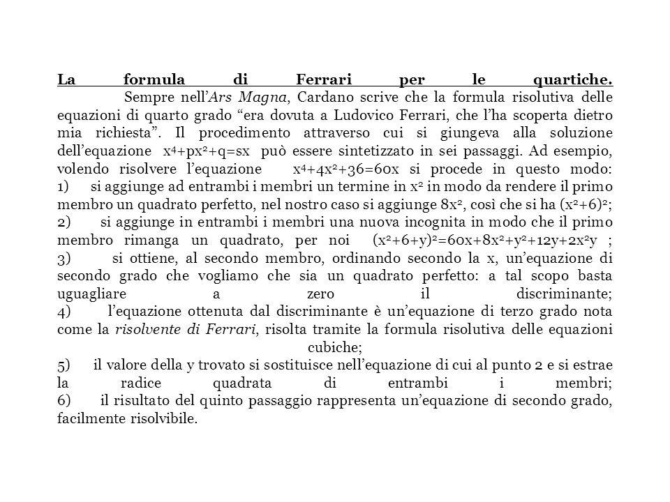 LUDOVICO FERRARI 1522-1565 FORMULA RISOLUTIVA EQUAZIONI DI QUARTO GRADO